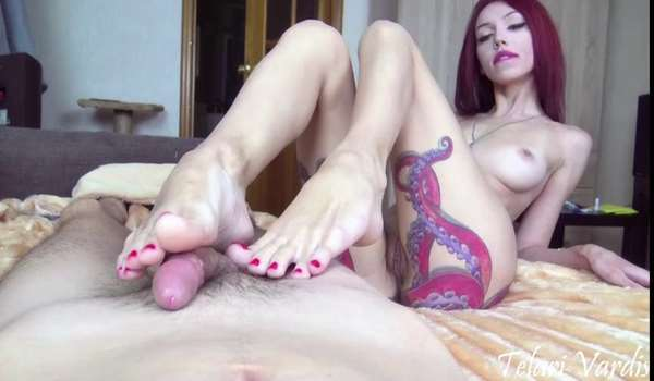 Footjob and anal creampie