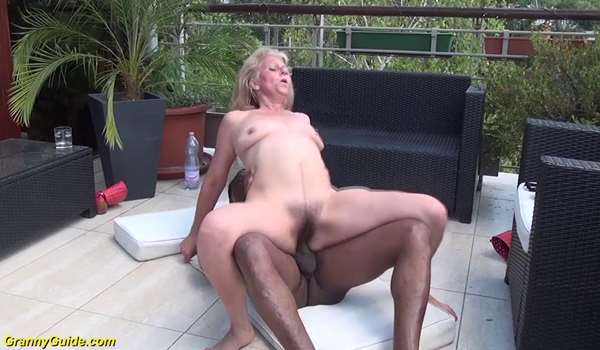 Interracial old porn on terrace