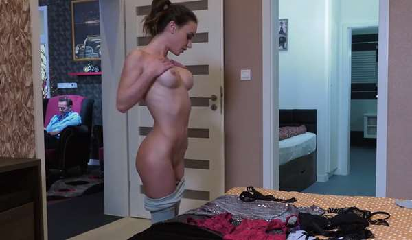 Lana rubs her tits in the shower