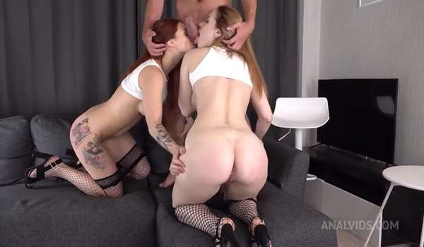 Sata and Lelya take BiG cock in ass